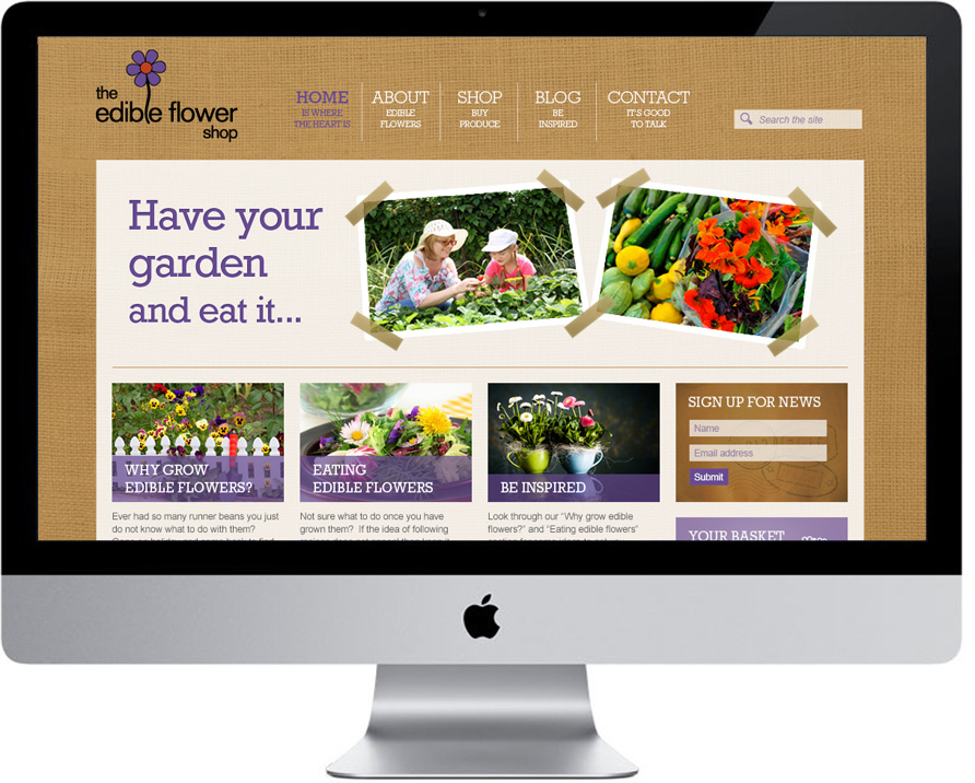 the edible flower shop website design and development