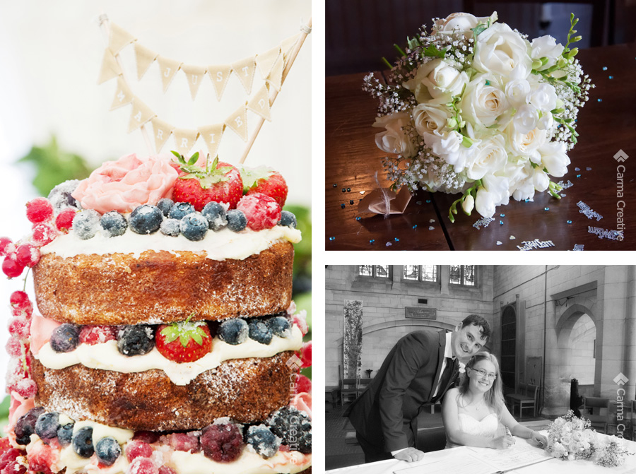 wedding photography for cake and flowers devon