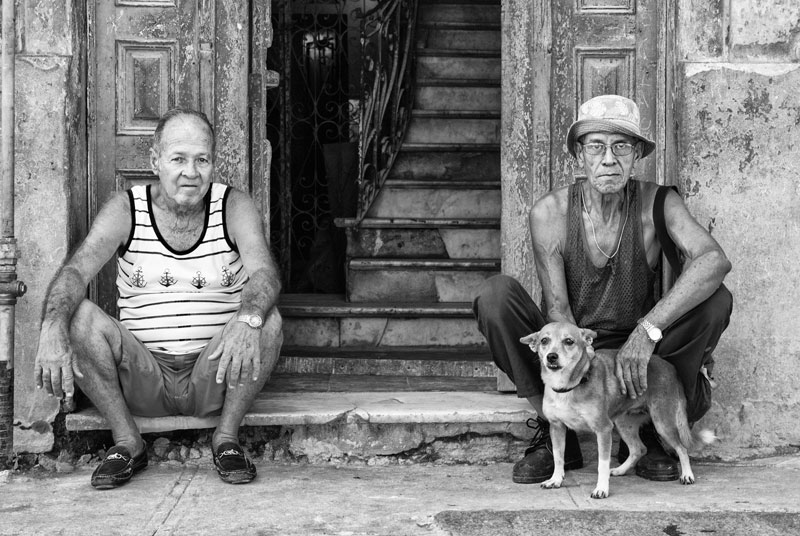 cuba travel photography guys and dog in havana