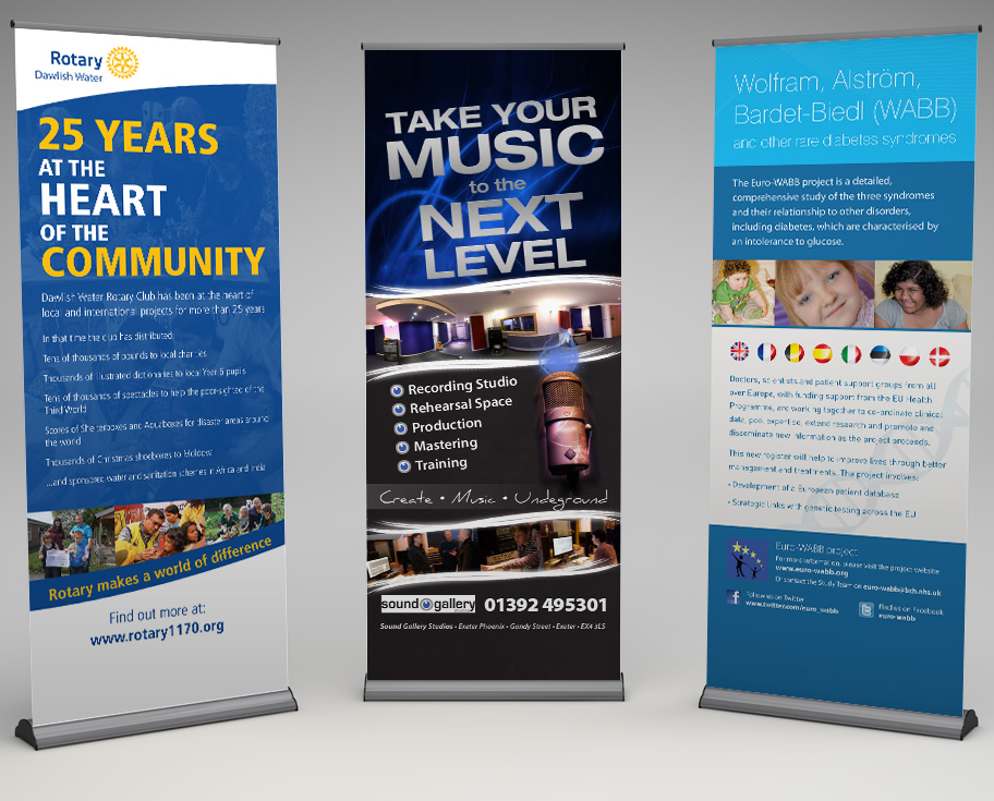rotary sound gallery and euro wabb pop up banner design