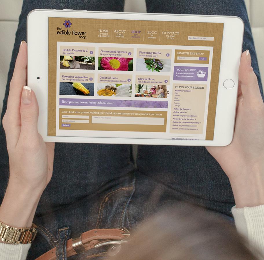 the edible flower shop website design