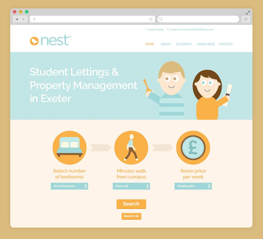 nest student lettings web design