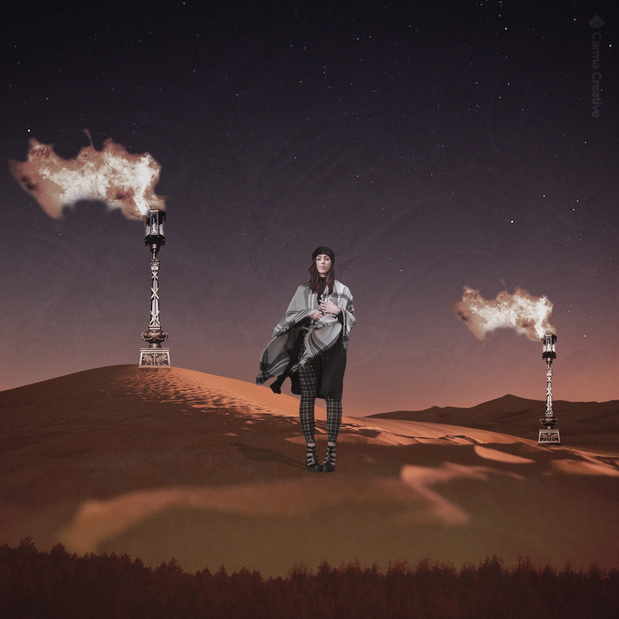 creative photoshop composite model in desert
